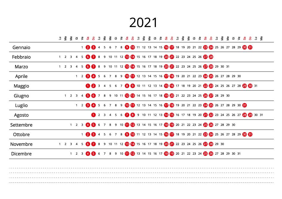 Italy 2021 Calendar line
