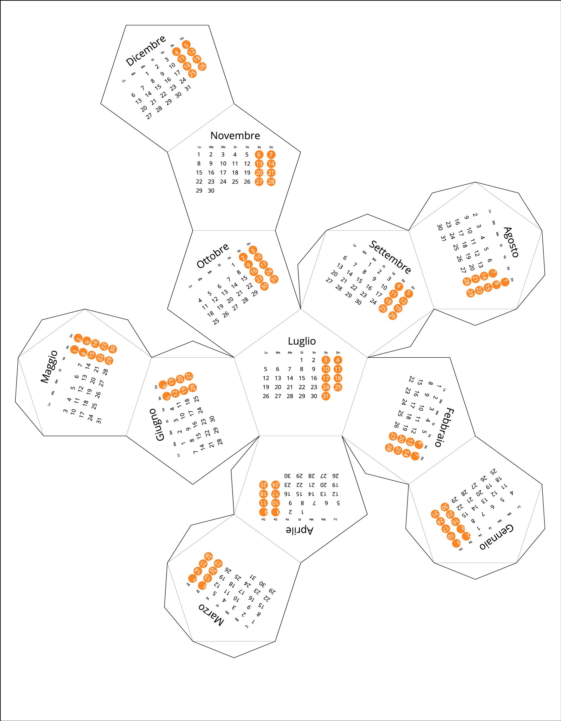 Italy 2021 Calendar origami