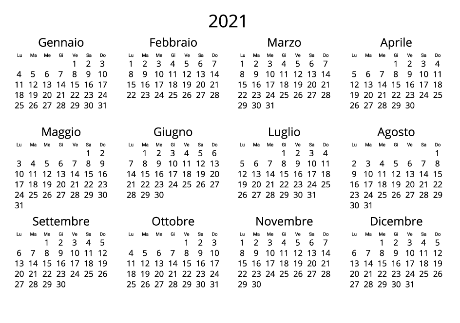 Italy 2021 Calendar black and white