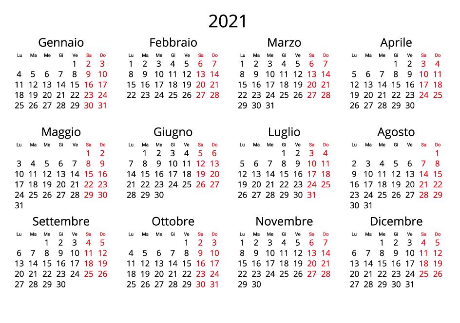 Italy 2021 Calendar landscape format