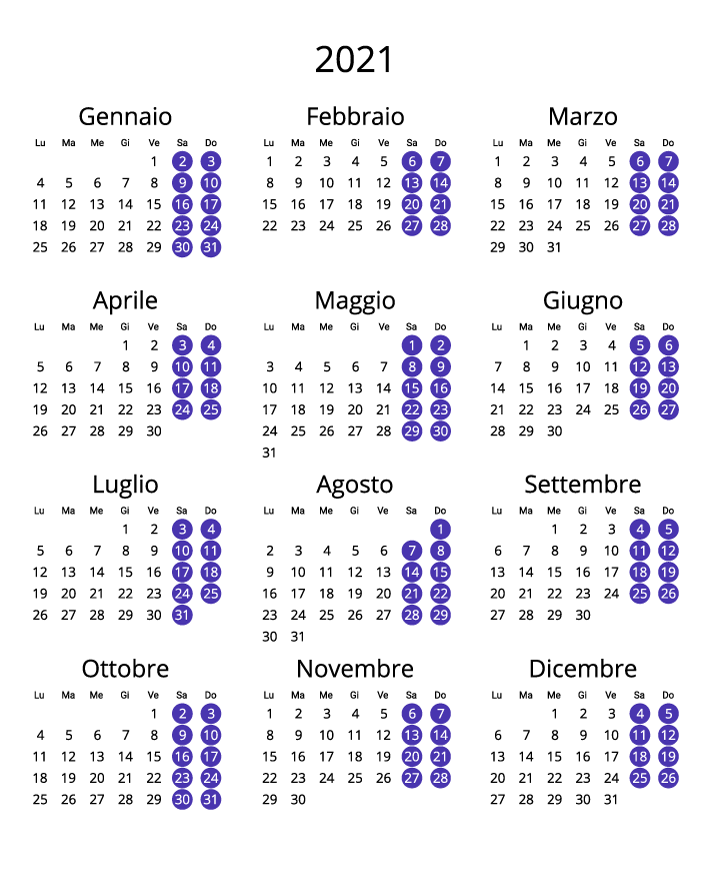 Italy 2021 Calendar portrait format