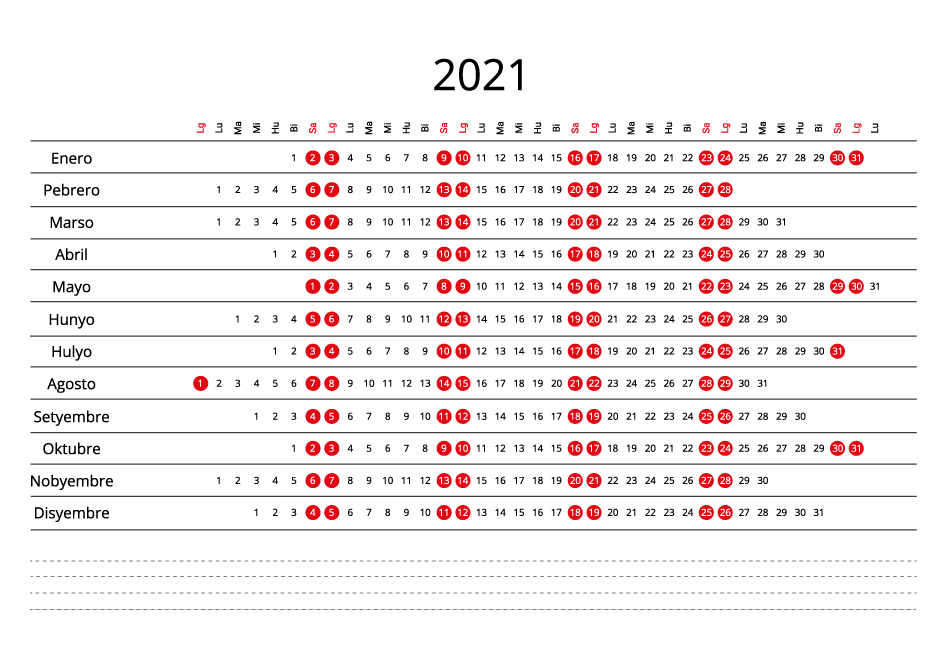Philippines 2021 Calendar line
