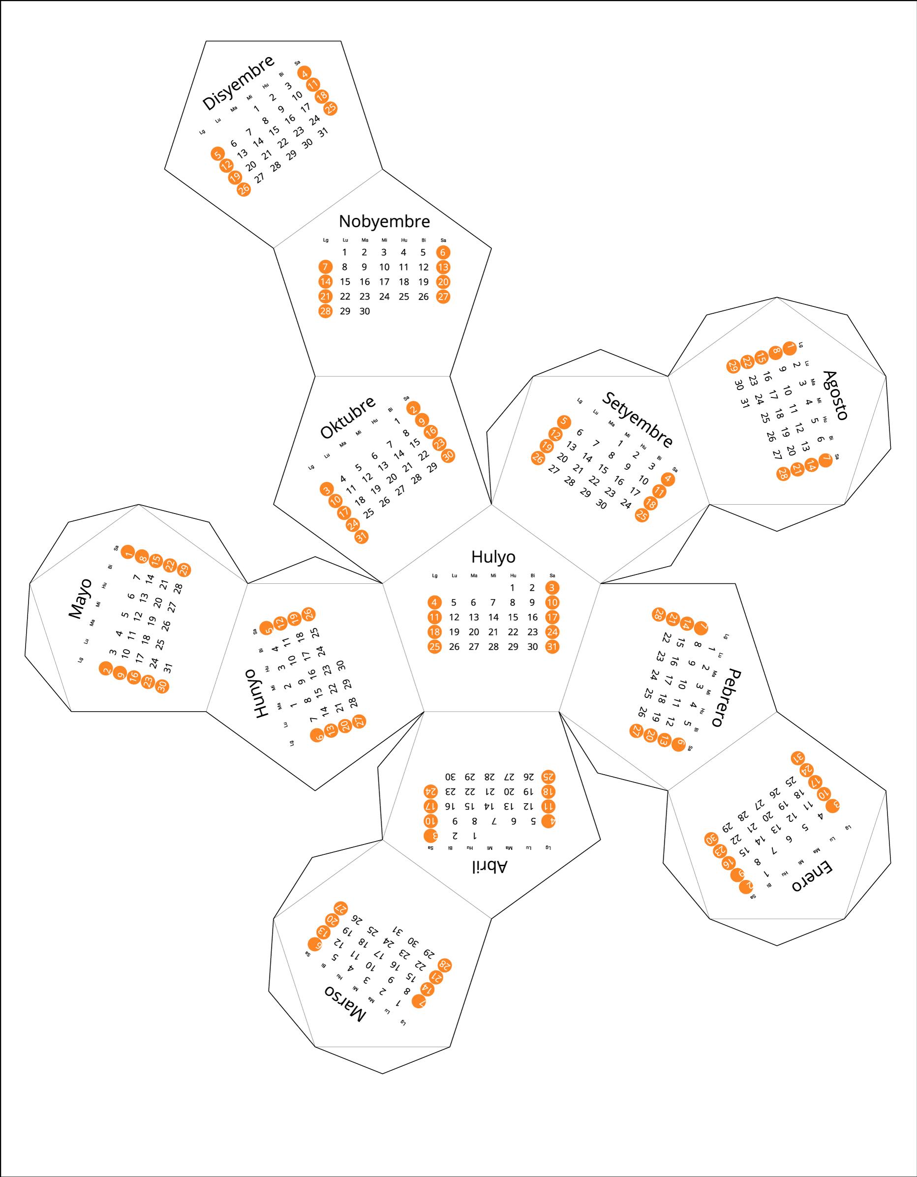 Philippines 2021 Calendar origami