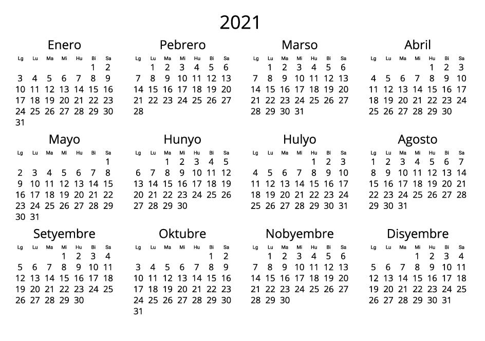 Philippines 2021 Calendar black and white