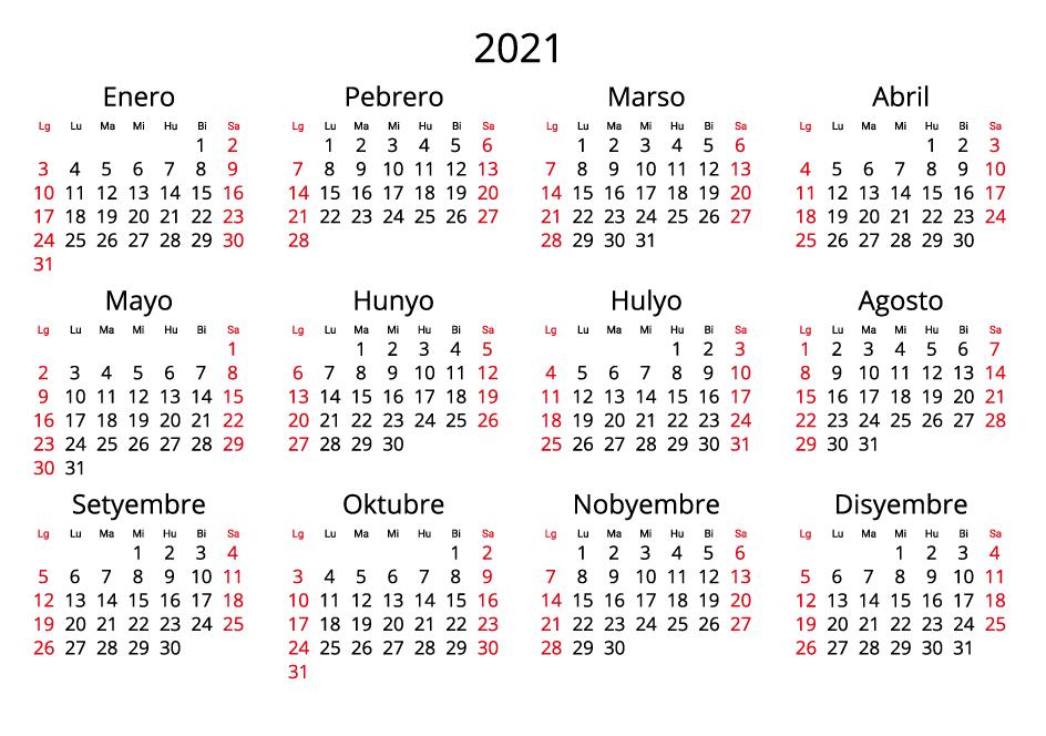 Philippines 2021 Calendar landscape format