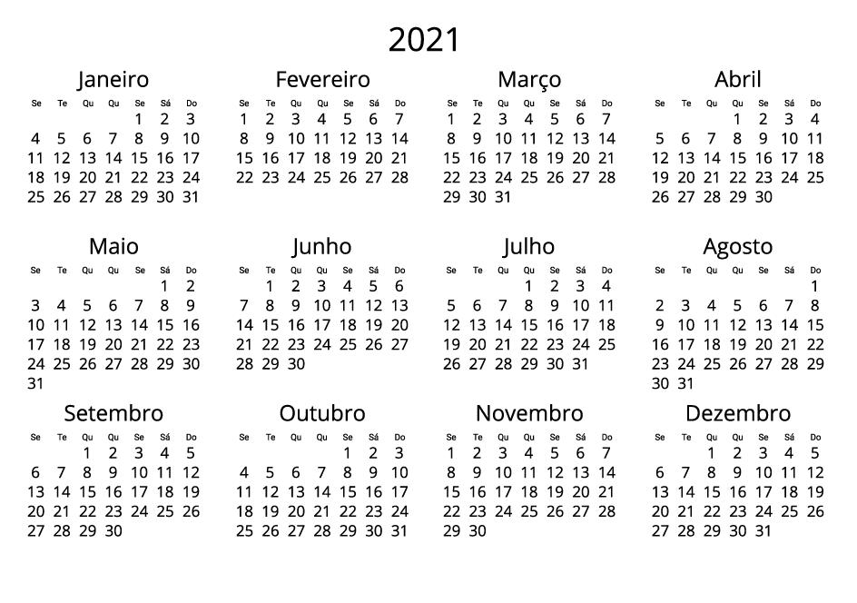 Portugal 2021 Calendar black and white