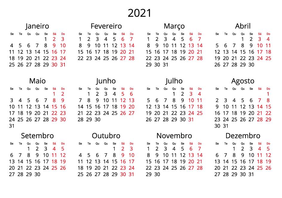 Portugal 2021 Calendar landscape format