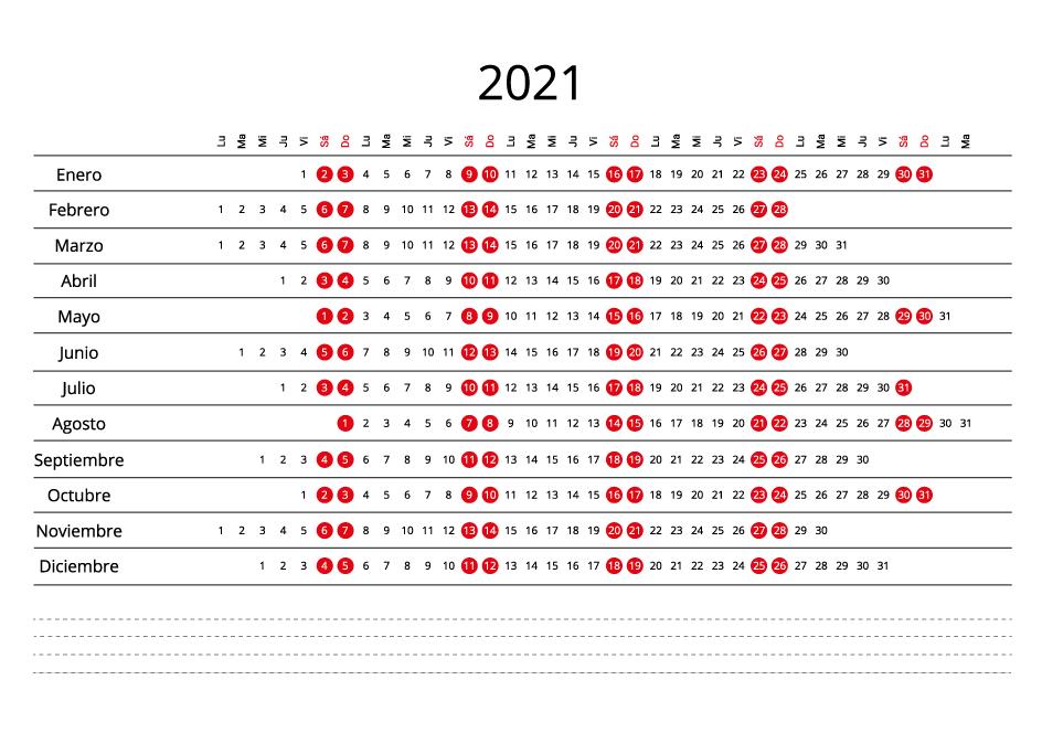 Spain 2021 Calendar line