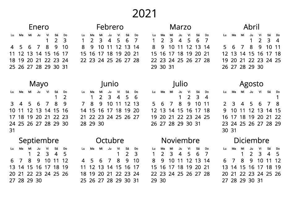 Spain 2021 Calendar black and white