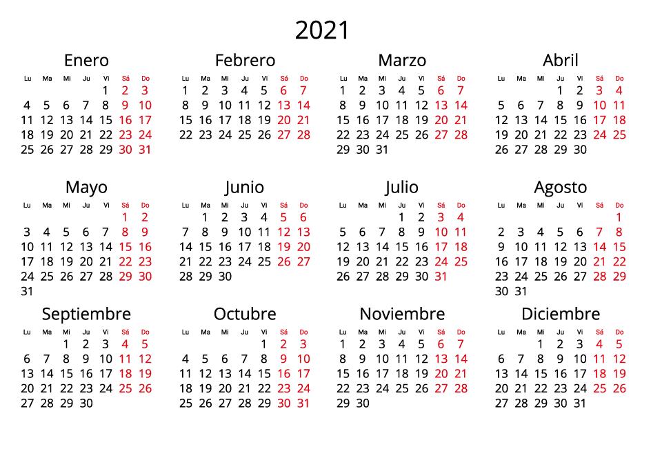 Spain 2021 Calendar landscape format