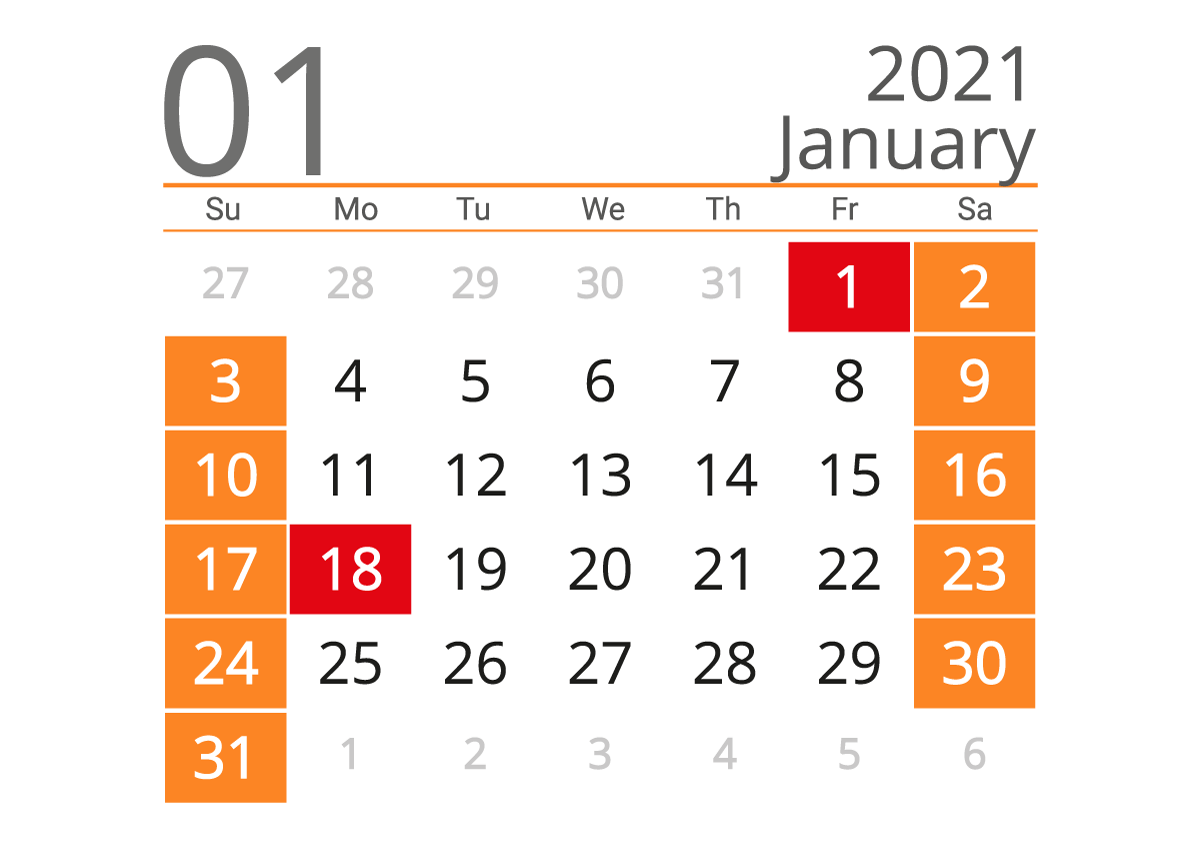 January 2021 calendar landscape download