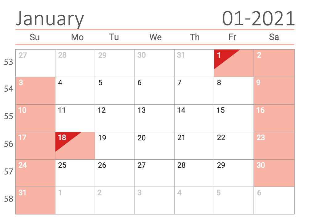 January 2021 calendar with week numbers download