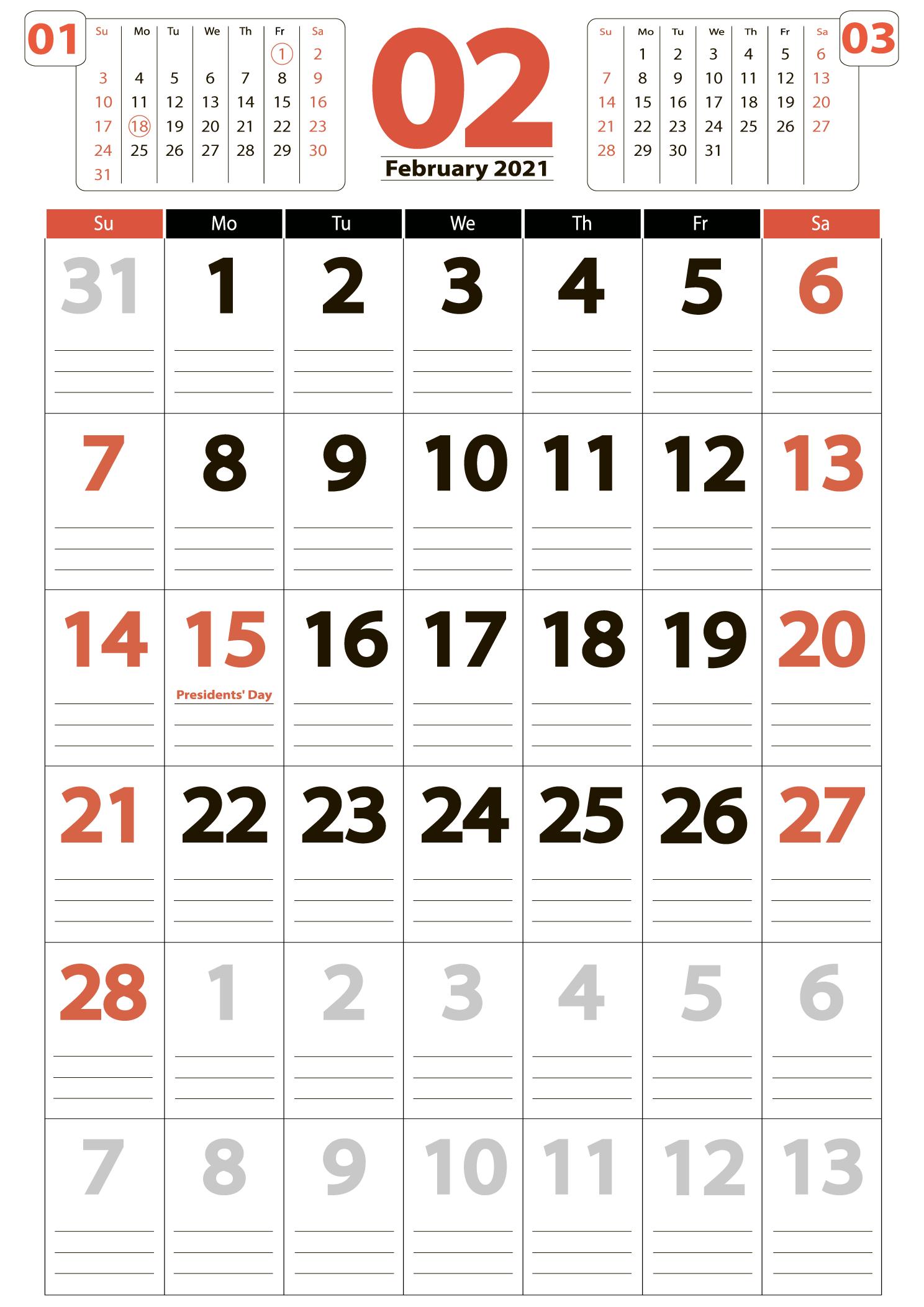 February 2021 big printable calendar