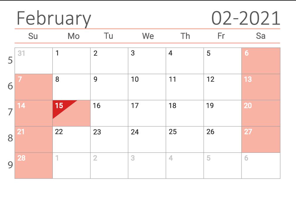 February 2021 printable Сalendar with week numbers
