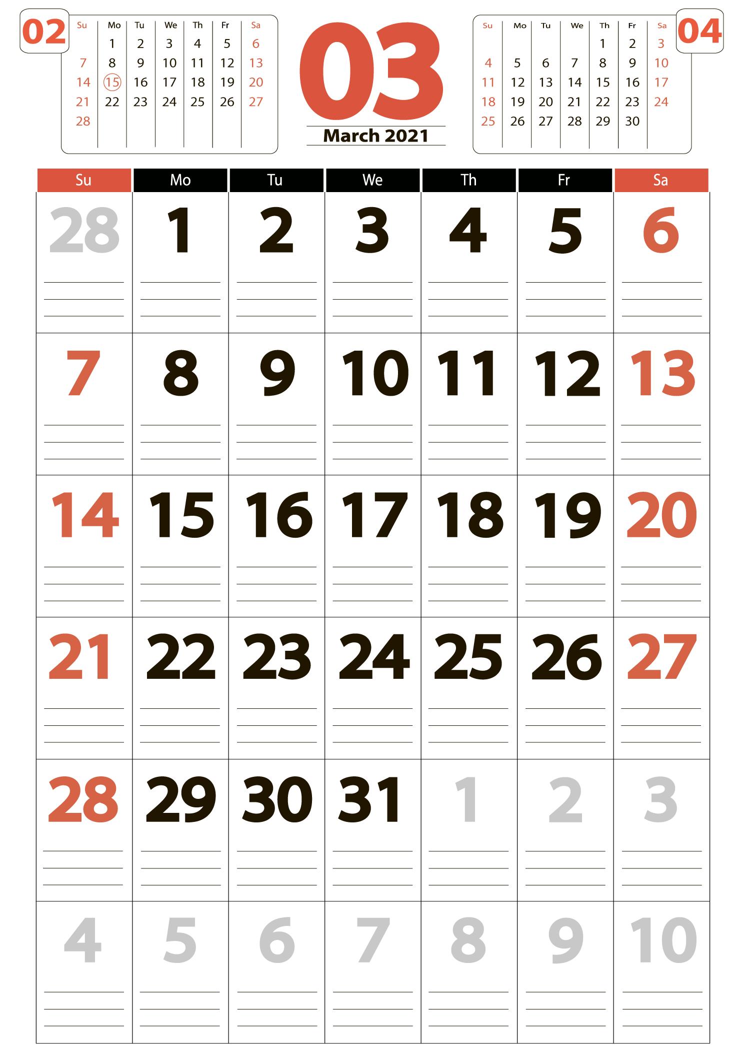 March 2021 calendar portrait download