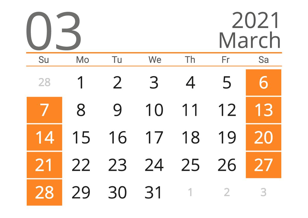 March 2021 calendar landscape download
