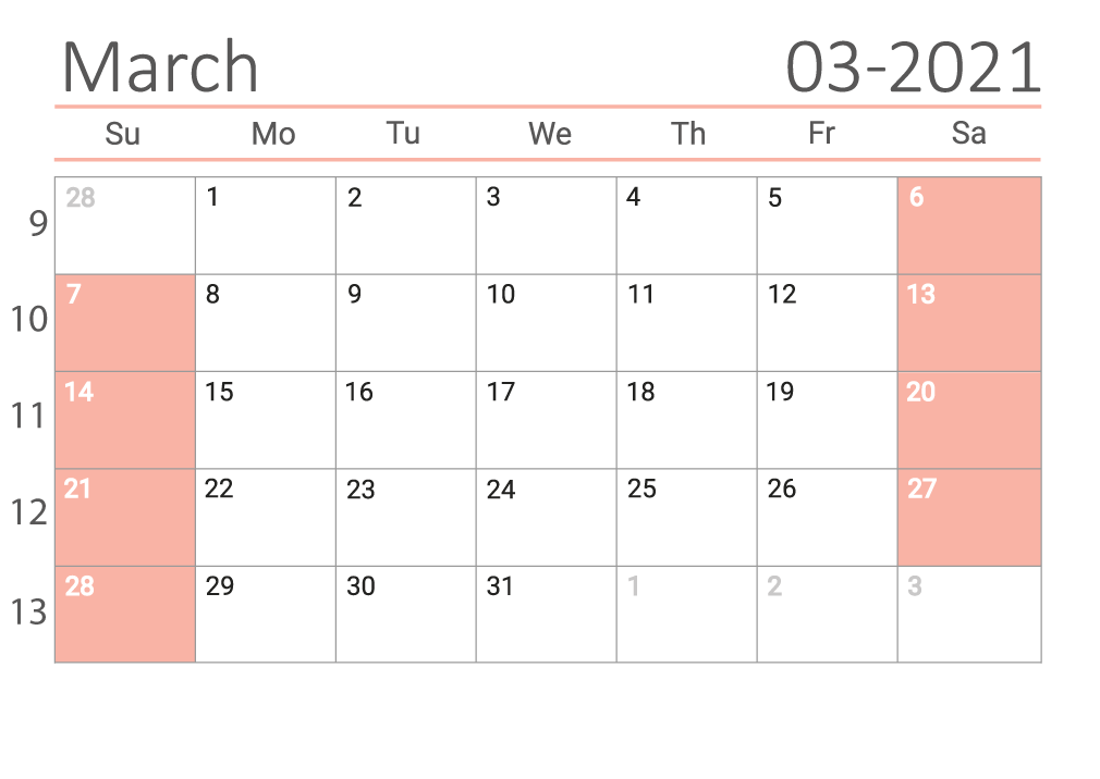 March 2021 calendar with week numbers download