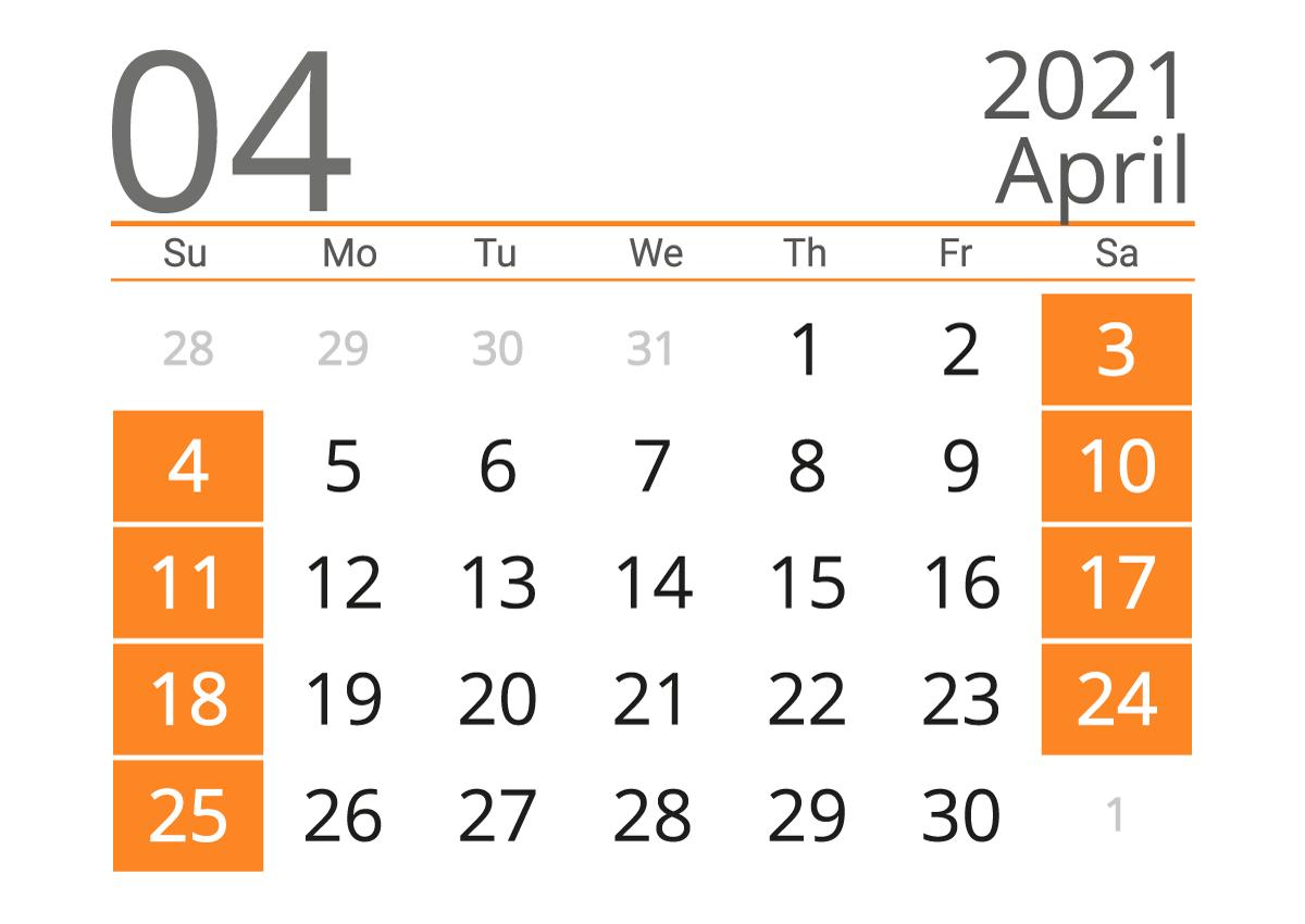 Printable calendar 04 2021