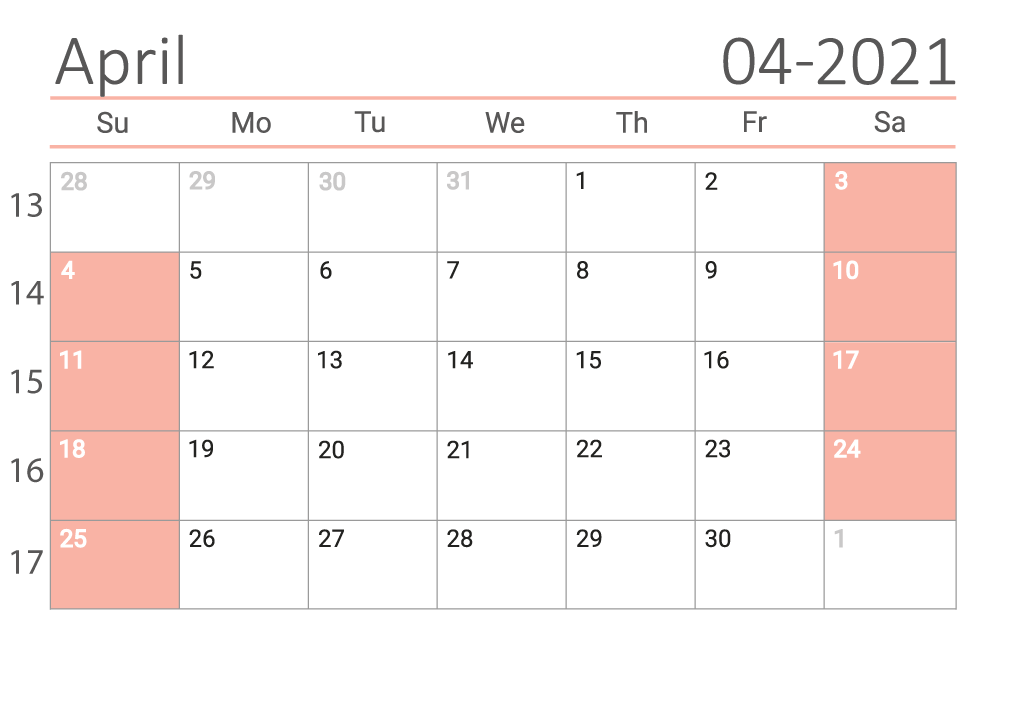 April 2021 calendar with week numbers download