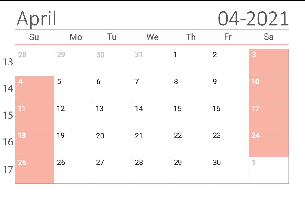 April 2021 printable Сalendar with week numbers