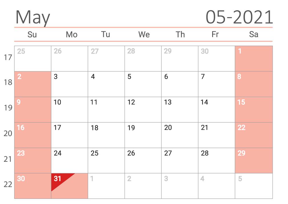 May 2021 printable Сalendar with week numbers