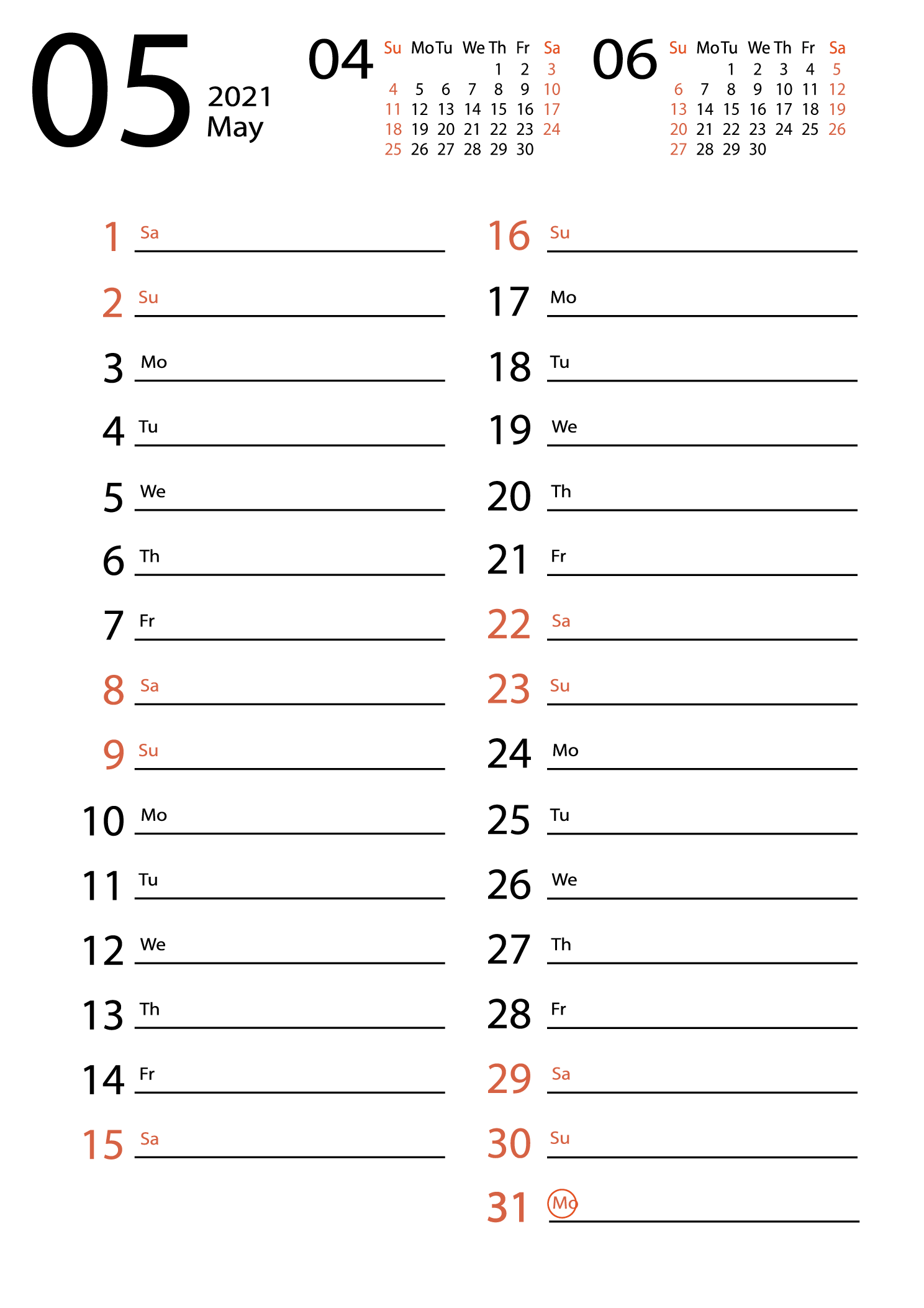 May 2021 calendar for notes download