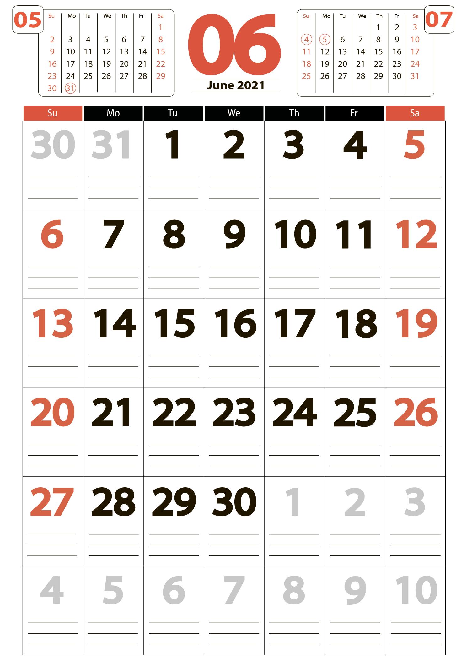 June 2021 big printable calendar