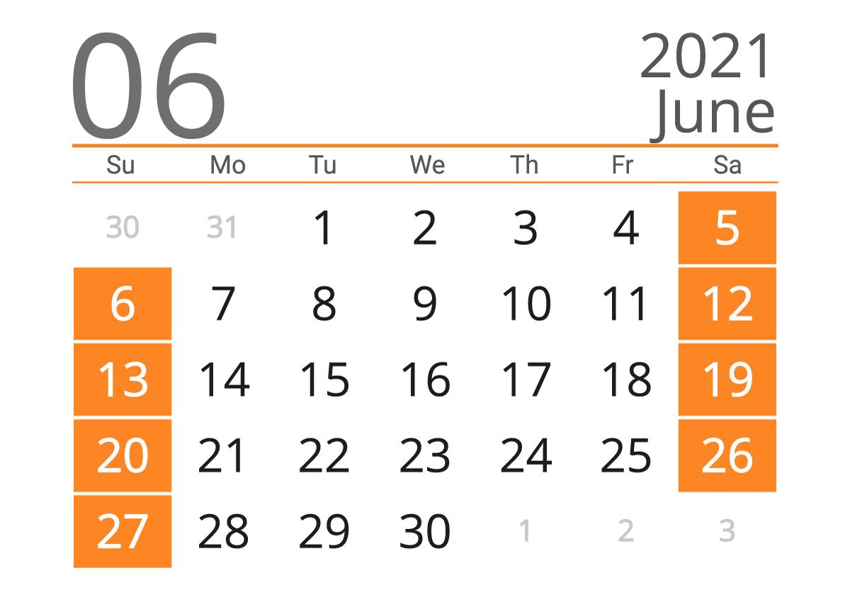 June 2021 printable calendar
