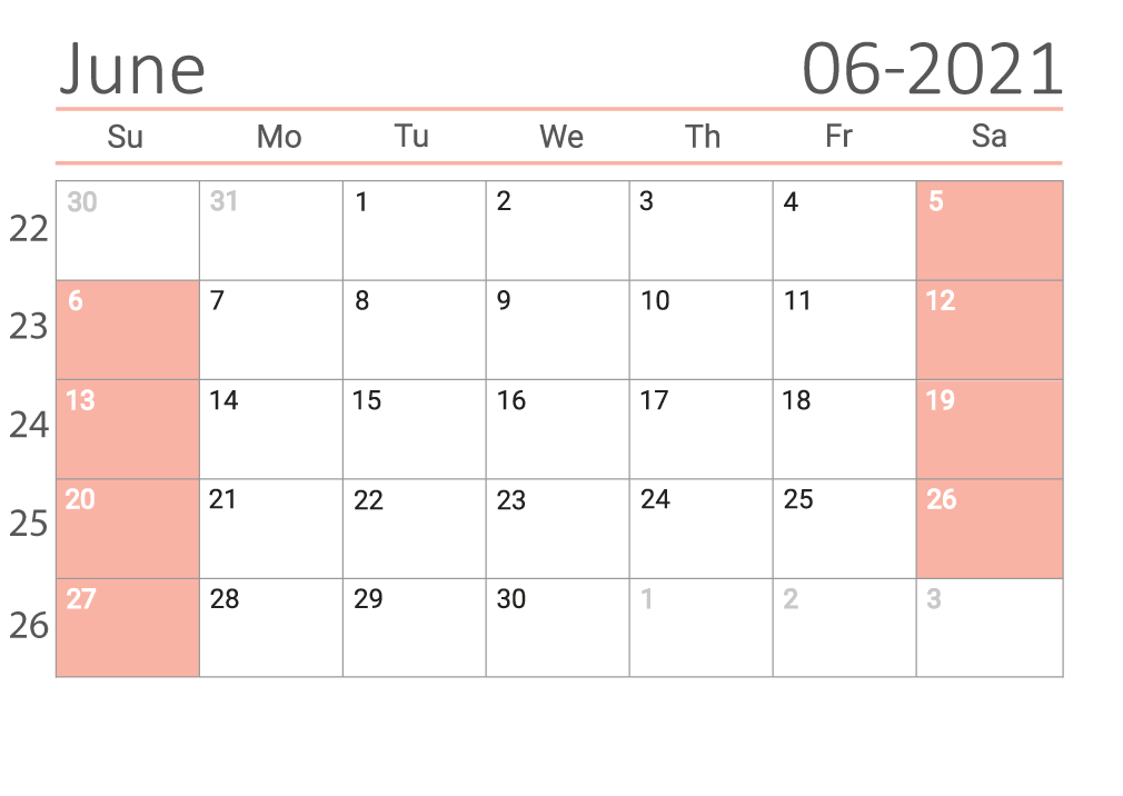June 2021 printable Сalendar with week numbers