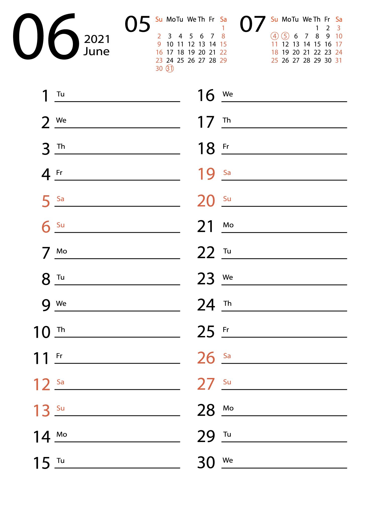 June 2021 calendar for notes download