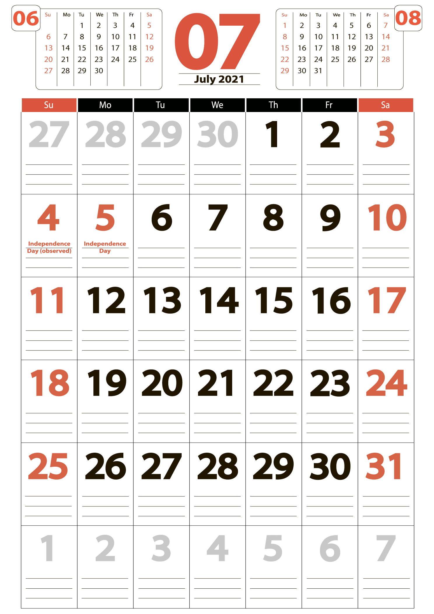 July 2021 big printable calendar