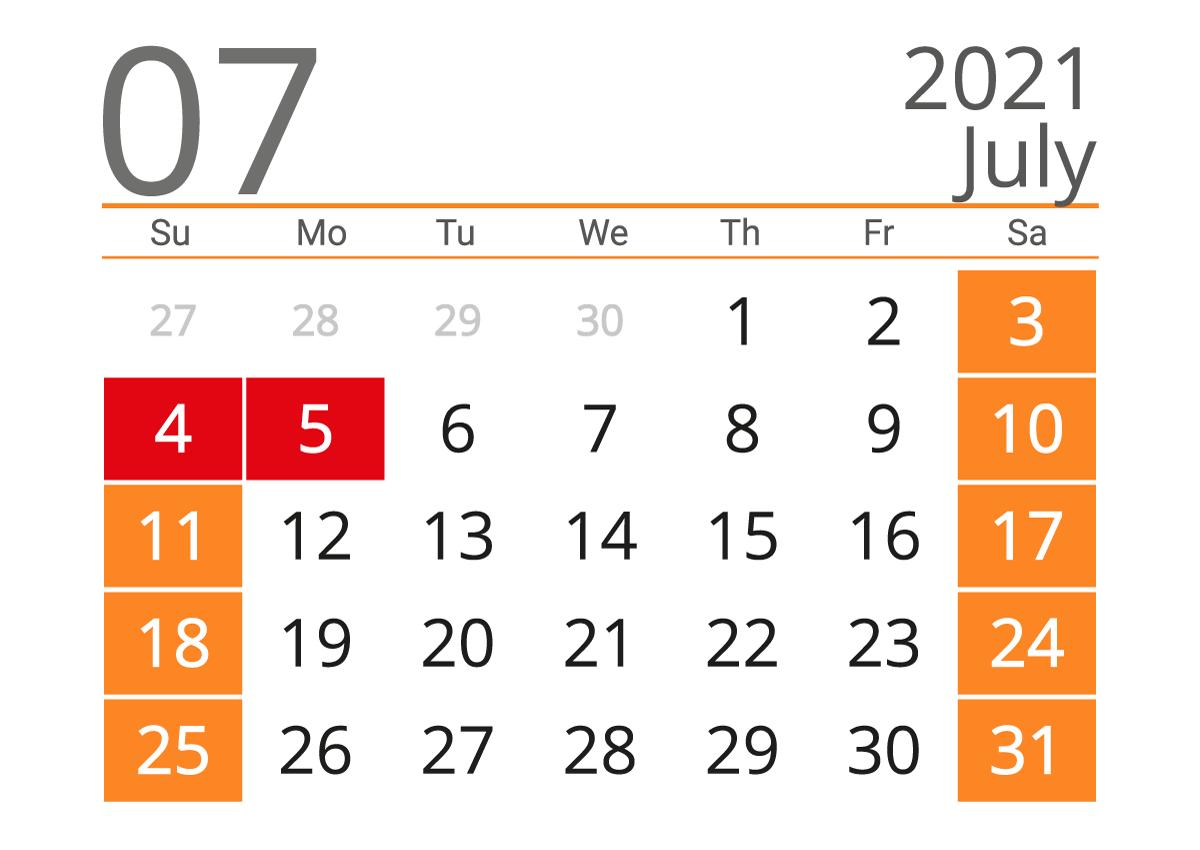 Printable calendar 07 2021
