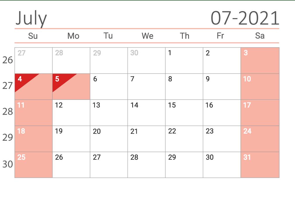 July 2021 printable Сalendar with week numbers