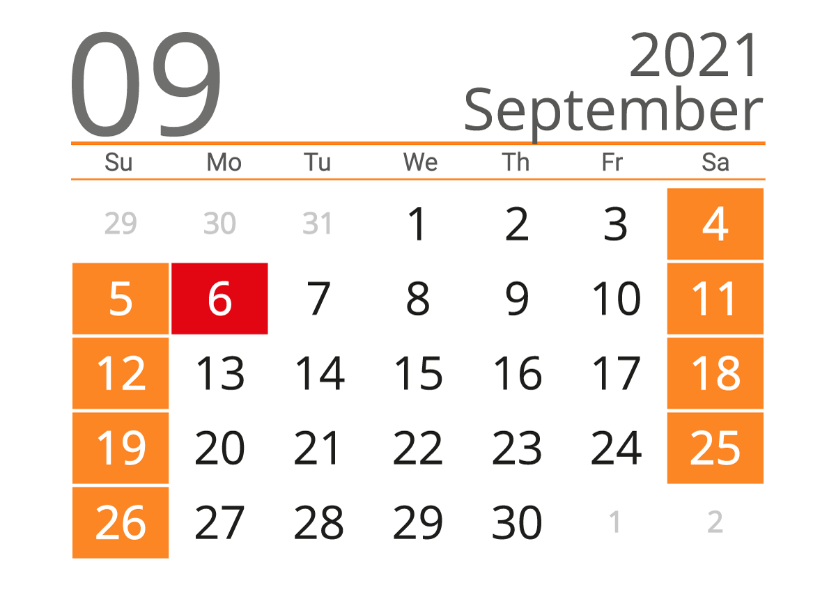 September 2021 Printable Calendar the US — Easy free Print