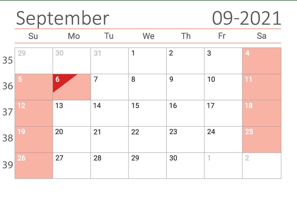 September 2021 calendar with week numbers download