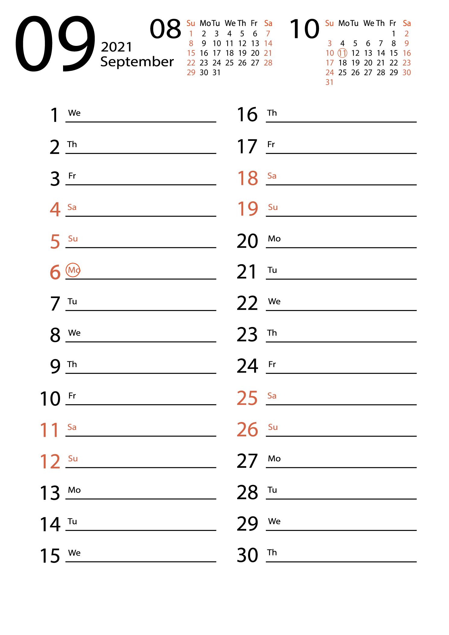 September 2021 calendar for notes download