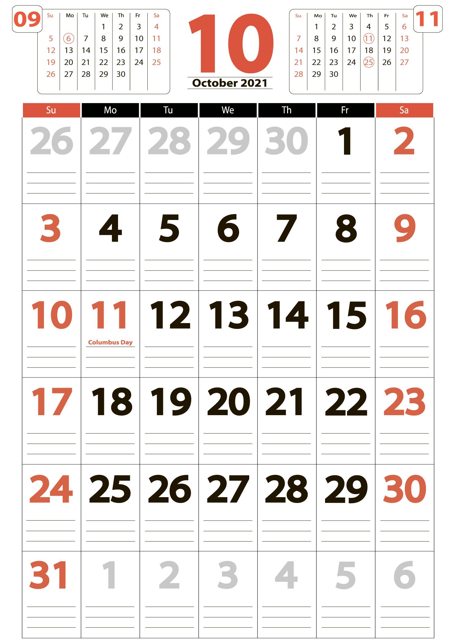 October 2021 calendar portrait download