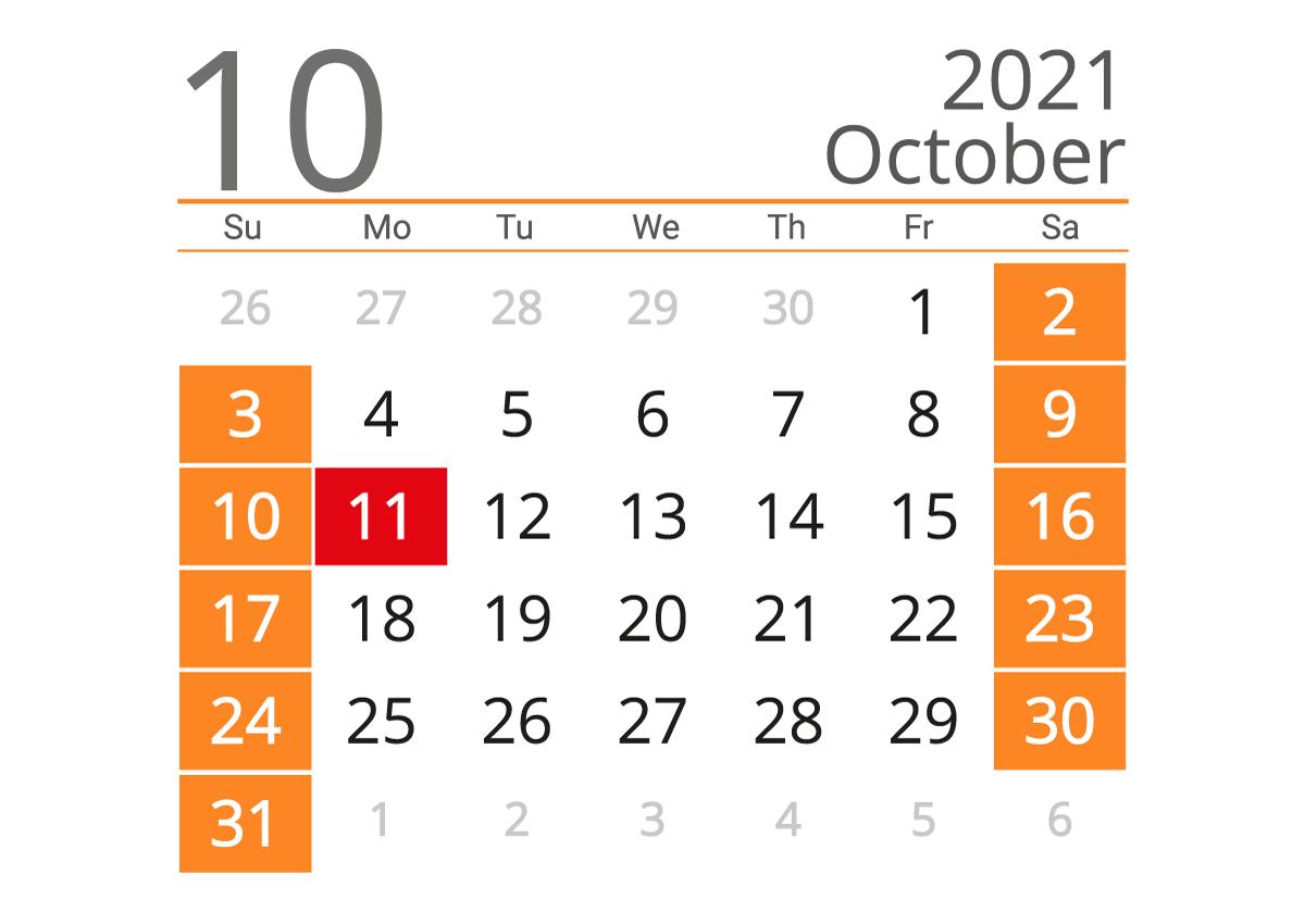 Printable calendar 10 2021