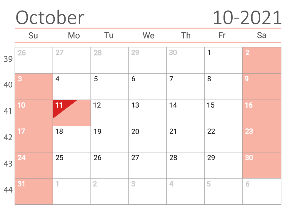 October 2021 calendar with week numbers download