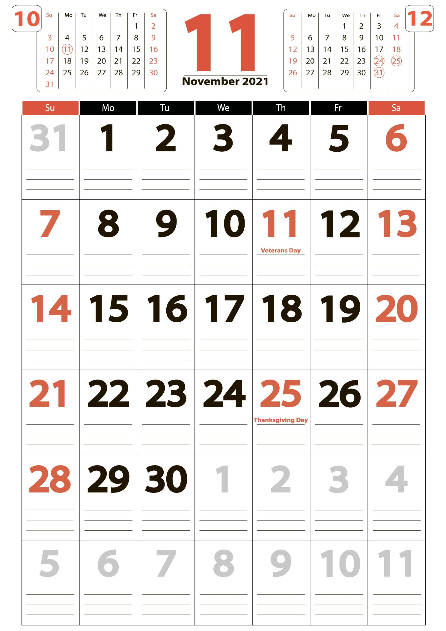 November 2021 calendar portrait download