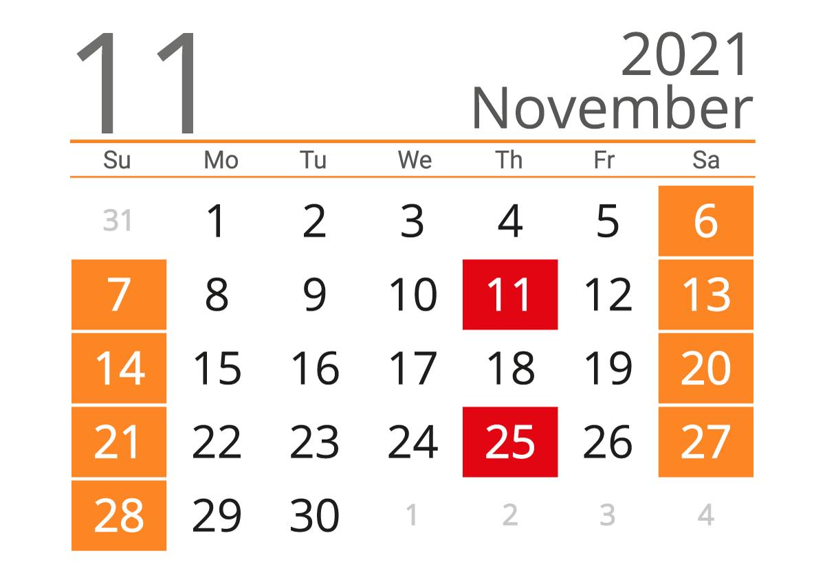 November 2021 calendar landscape download