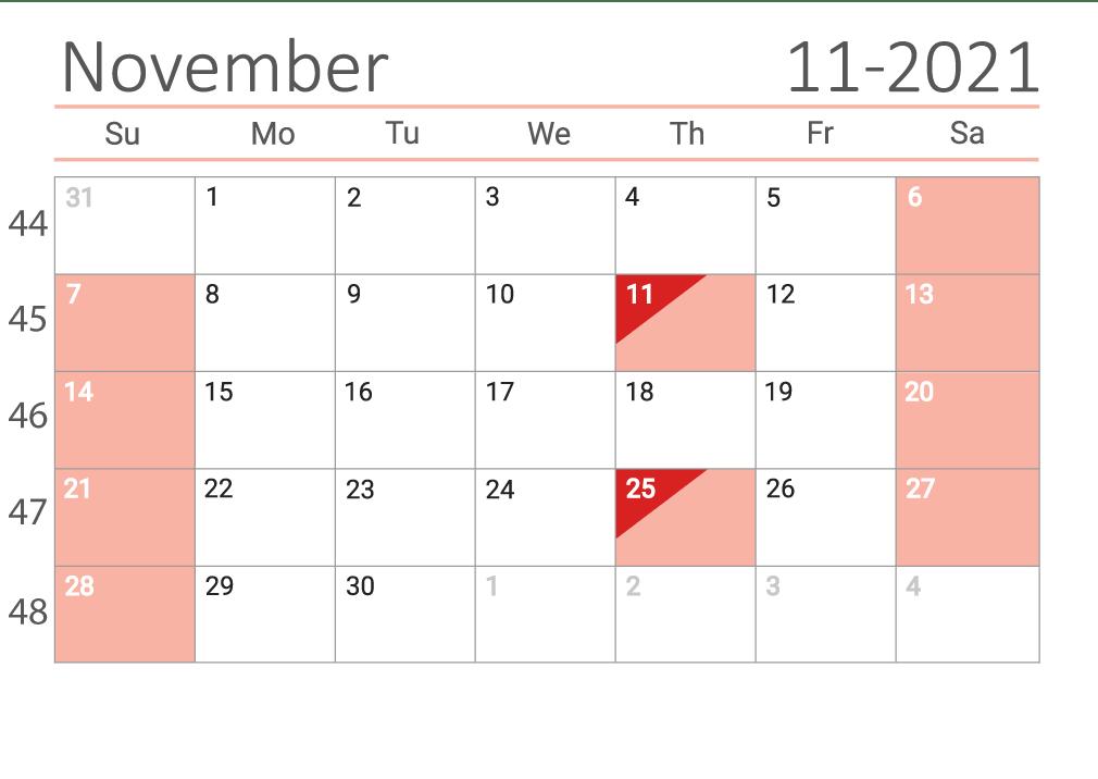 November 2021 calendar with week numbers download
