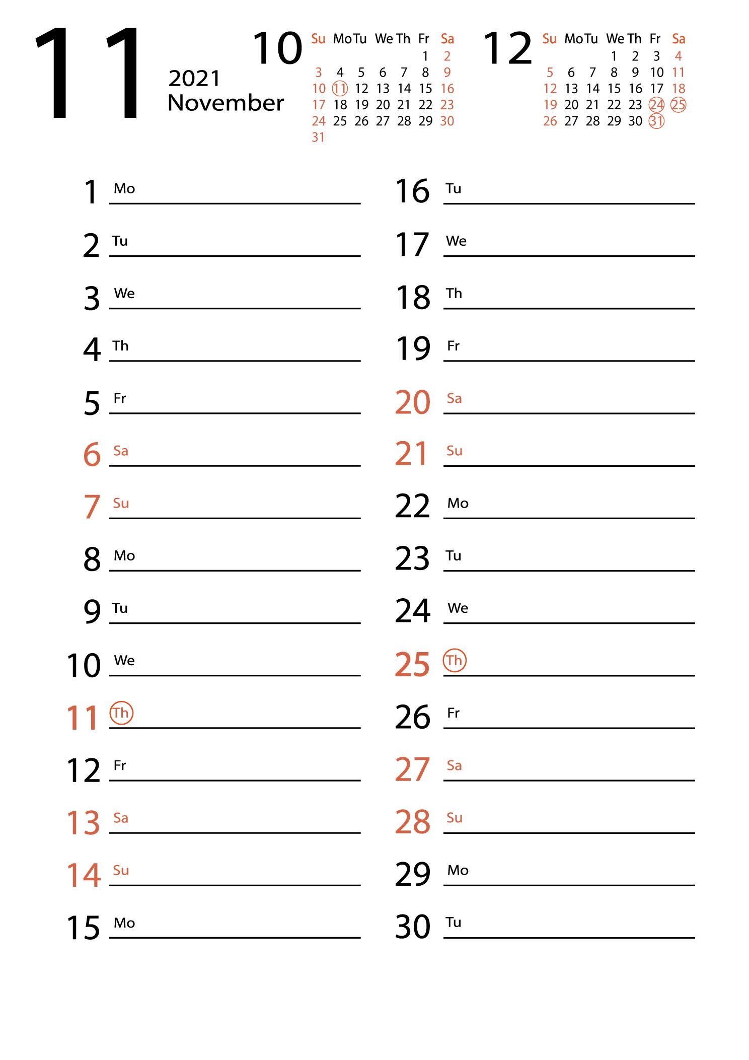 November 2021 calendar for notes download