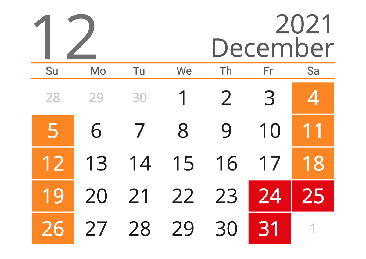 December 2021 calendar landscape download