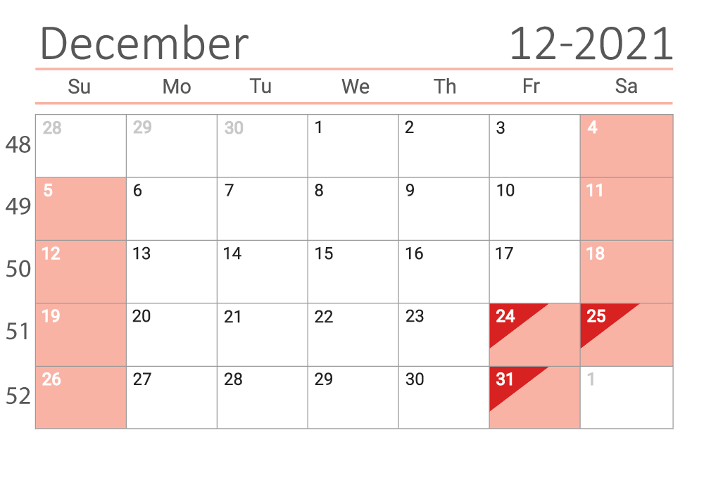 December 2021 calendar with week numbers download
