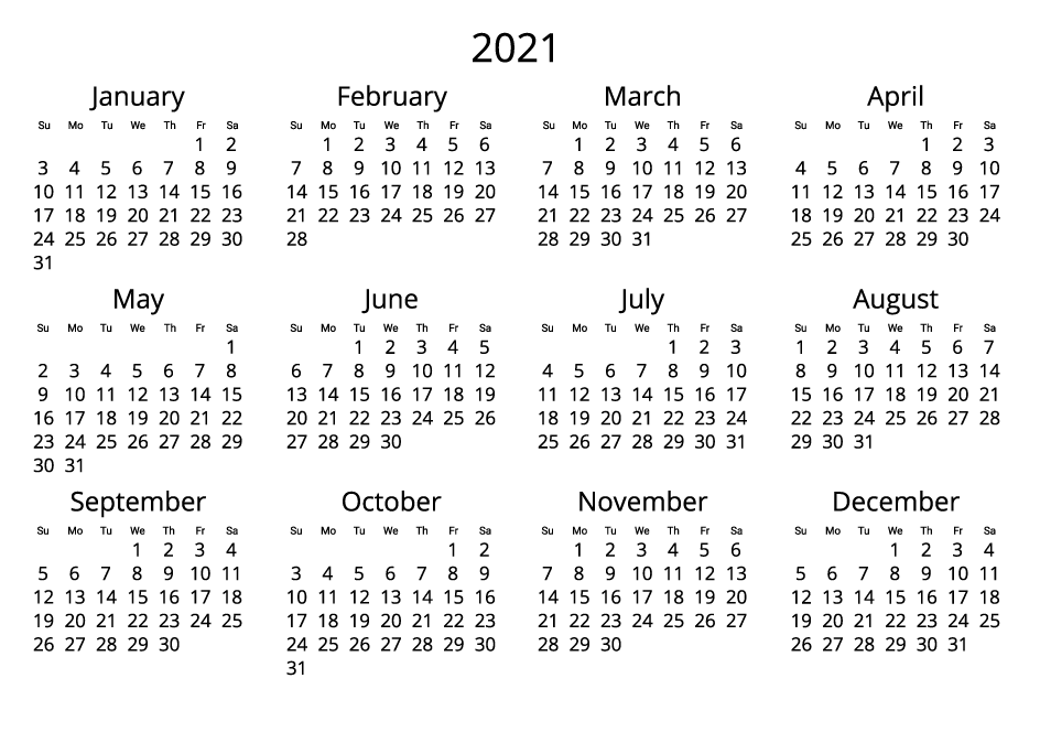 2021 Printable Calendar black and white