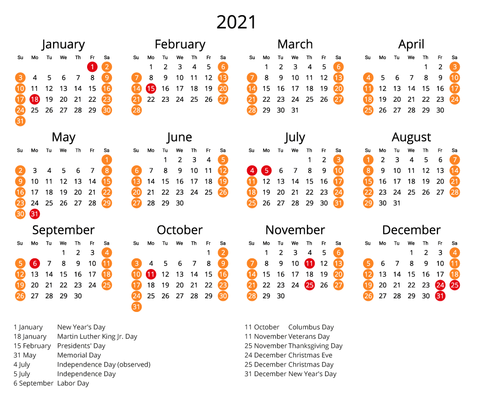 2021 Printable Calendar with Holidays