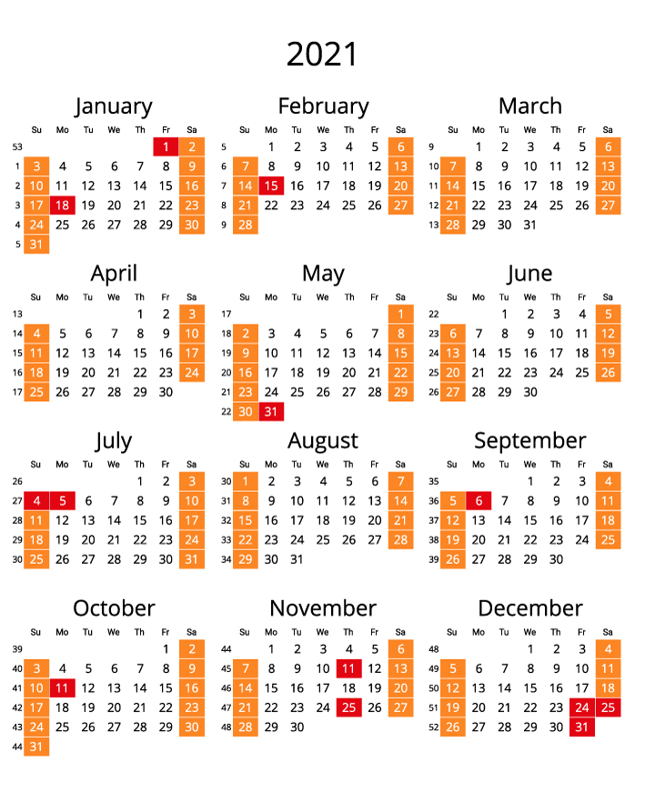 2021 Printable Calendar with numbers of weeks