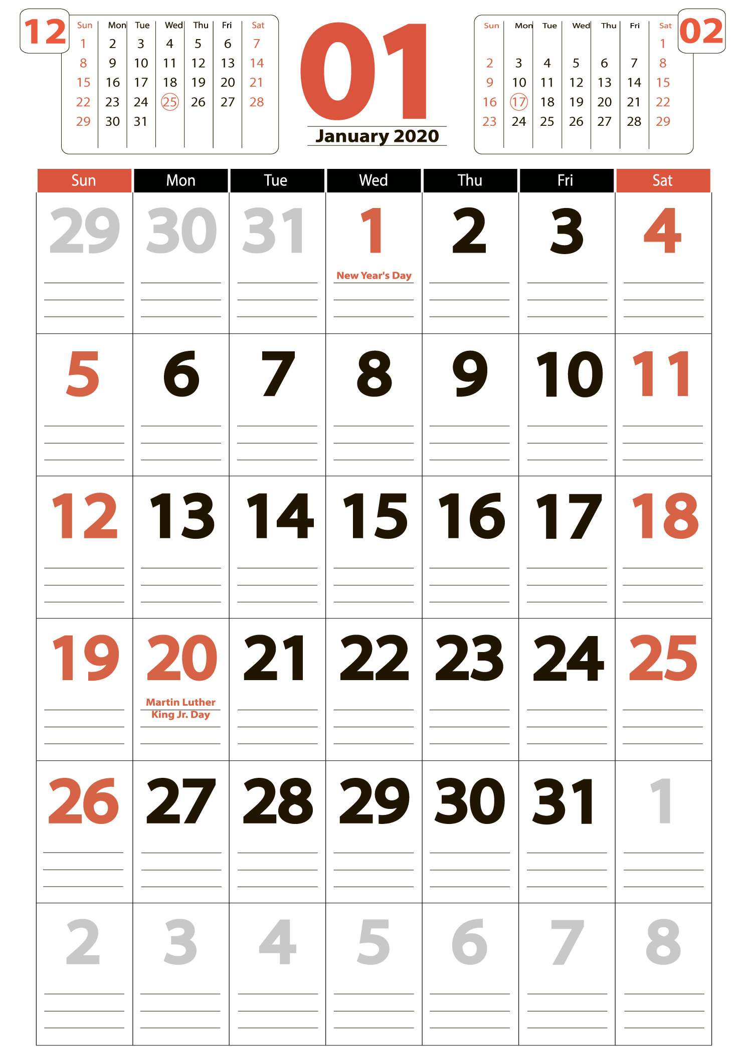 january 2020 calendar Portrait calendar