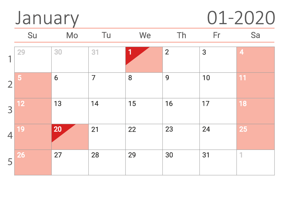 january 2020 calendar Сalendar with week numbers